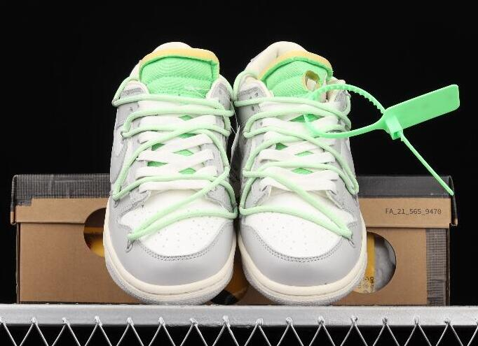 Fashion Nike Dunk Low LTHR OW 04 of 50 Beige Mint Green DM1602-108 Running Sneakers