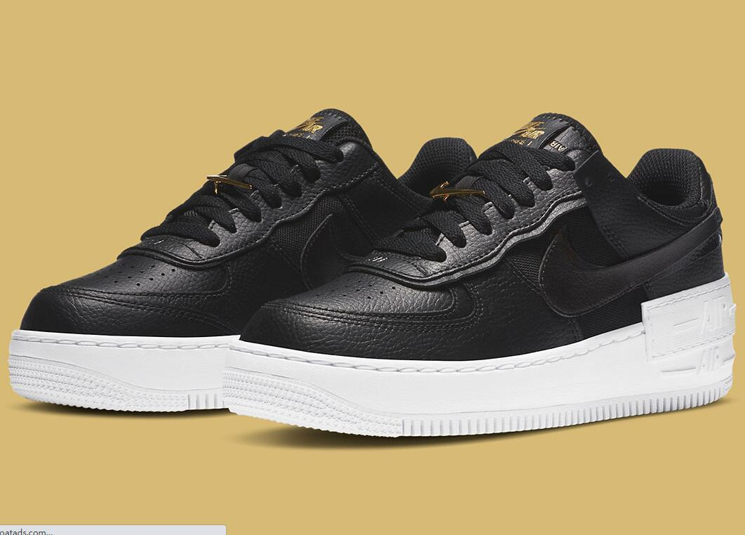 Classic Black And White Nike Air Force 1 Shadow Coming With Metallic Gold