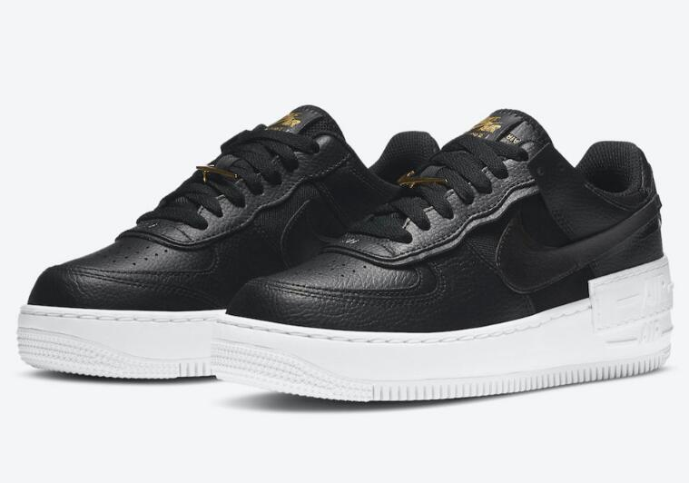 Latest Black White Nike Air Force 1 Shadow Dropping With Gold Accents