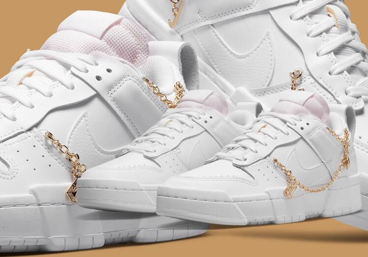 Latest Nike Dunk Low Disrupt White Releasing With Golden Charms